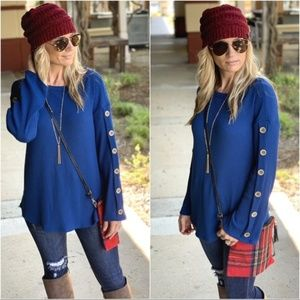Blue Button Trim Sleeve Ribbed Knit Tunic